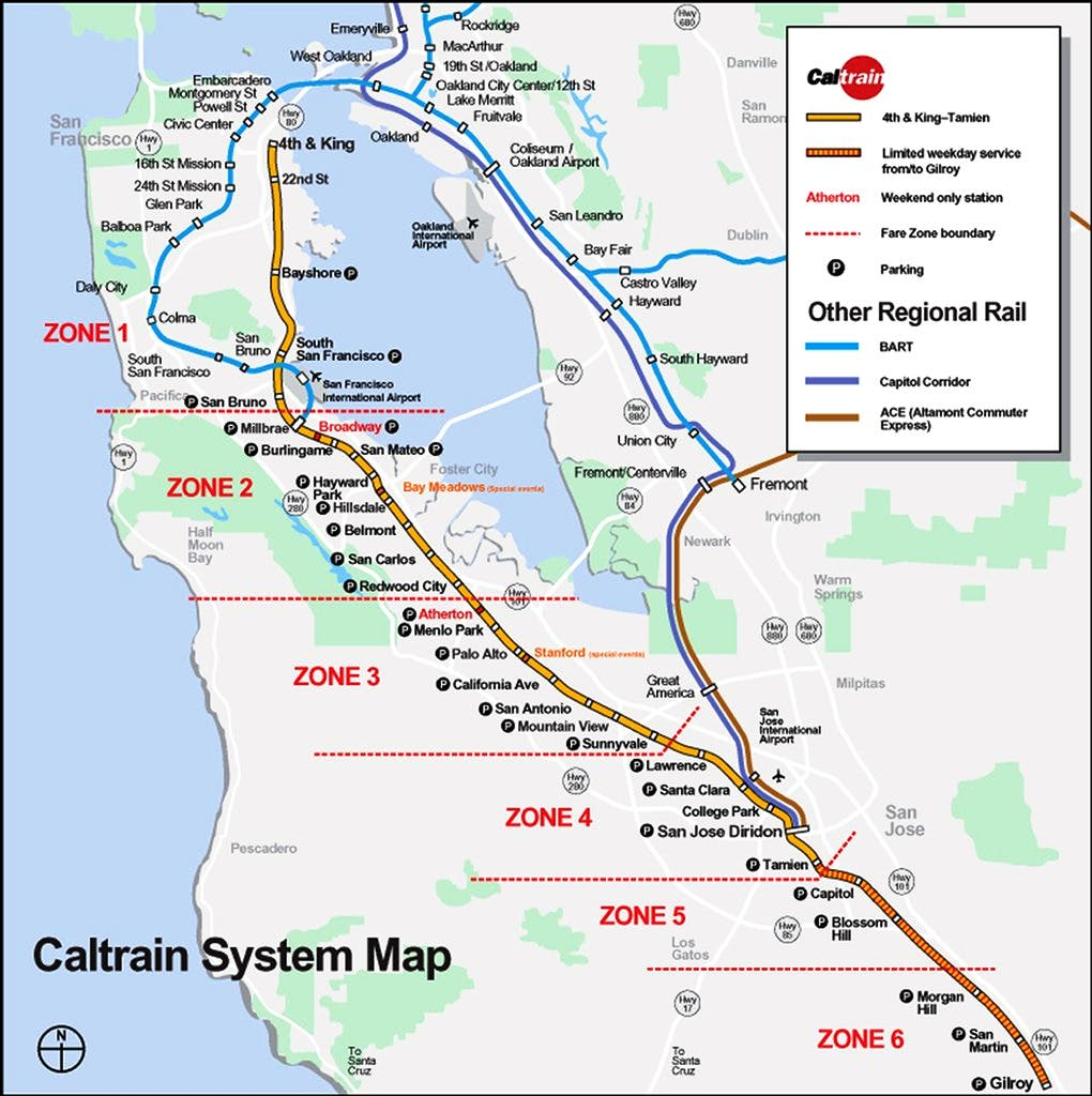 Caltrain Station 3 minutes walking distance from The Dylan Hotel.