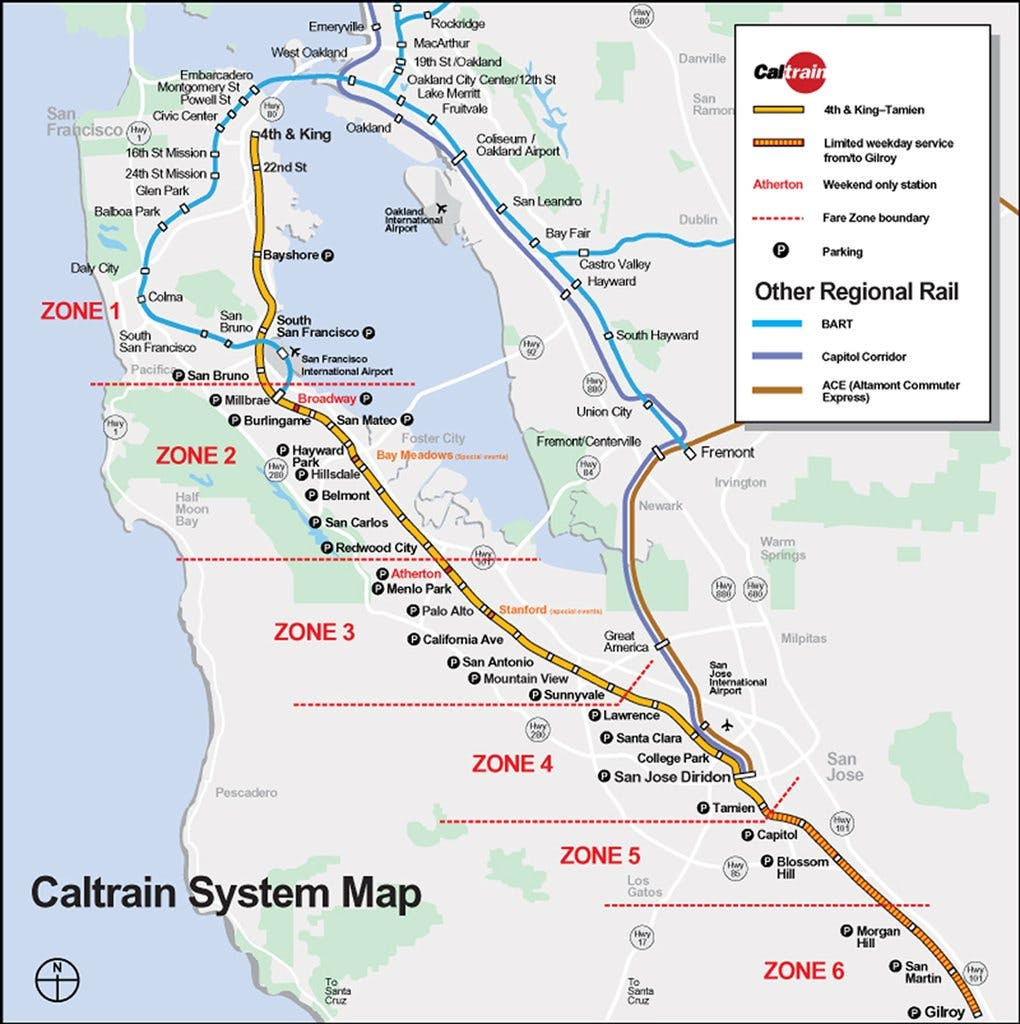 Millbrae Caltrain Station 3 minutes walking distance from The Dylan Hotel at SFO
