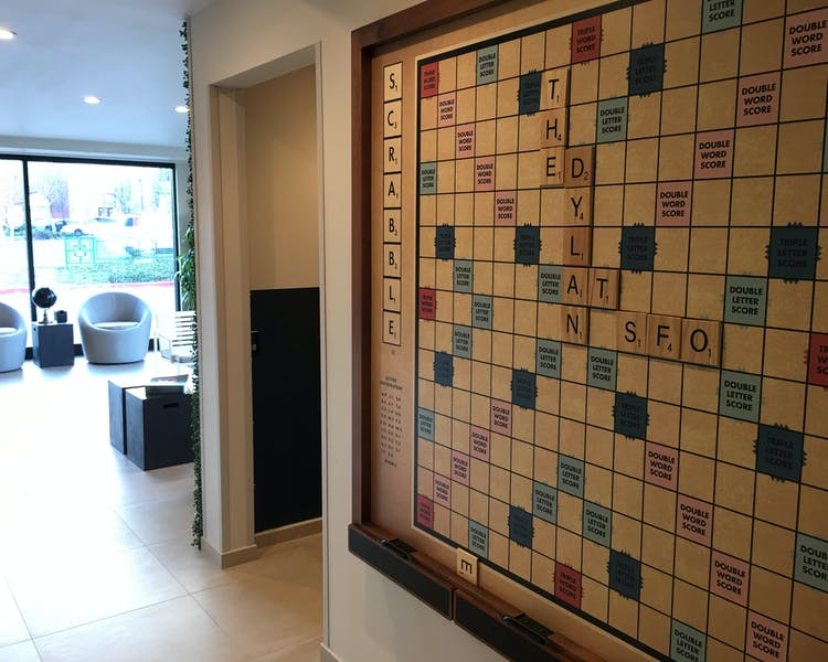 The Dylan Hotel at SFO giant Scrabble Wall