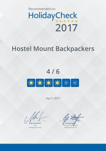 Hotelparks award for Mount Backpackers.  Value for money, cheapest accomodation for the awesome location in Mount Maunganui