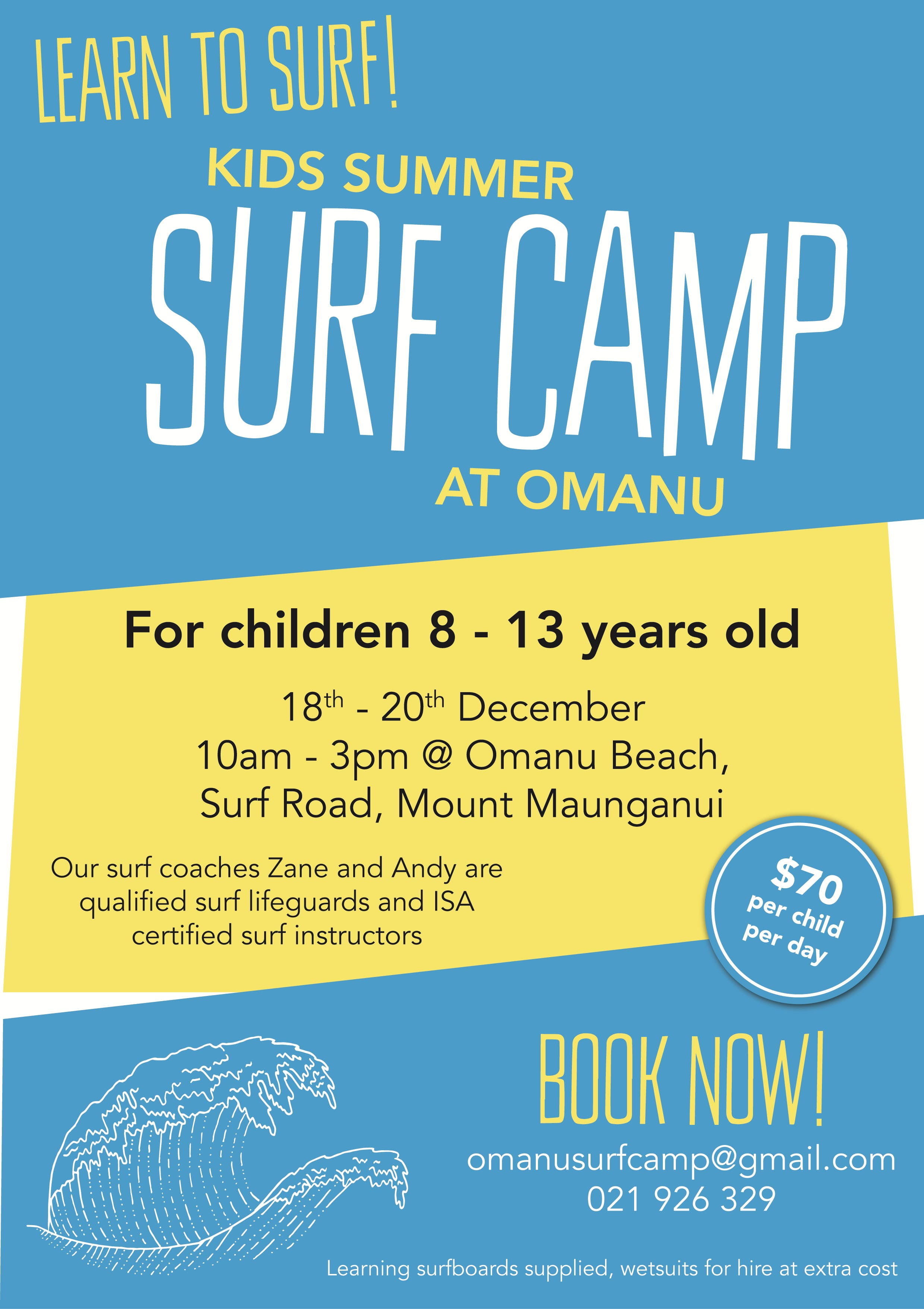 Surf camp, kids camp, summer surfing, Zane Winslade, rent a surfboard, learn to surf at Mount Maunganui