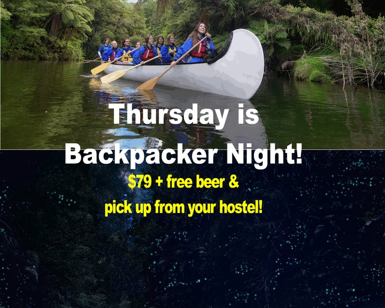 Waimarino Adventures, backpacker glow worm tour, special price for backpackers, includes free beer