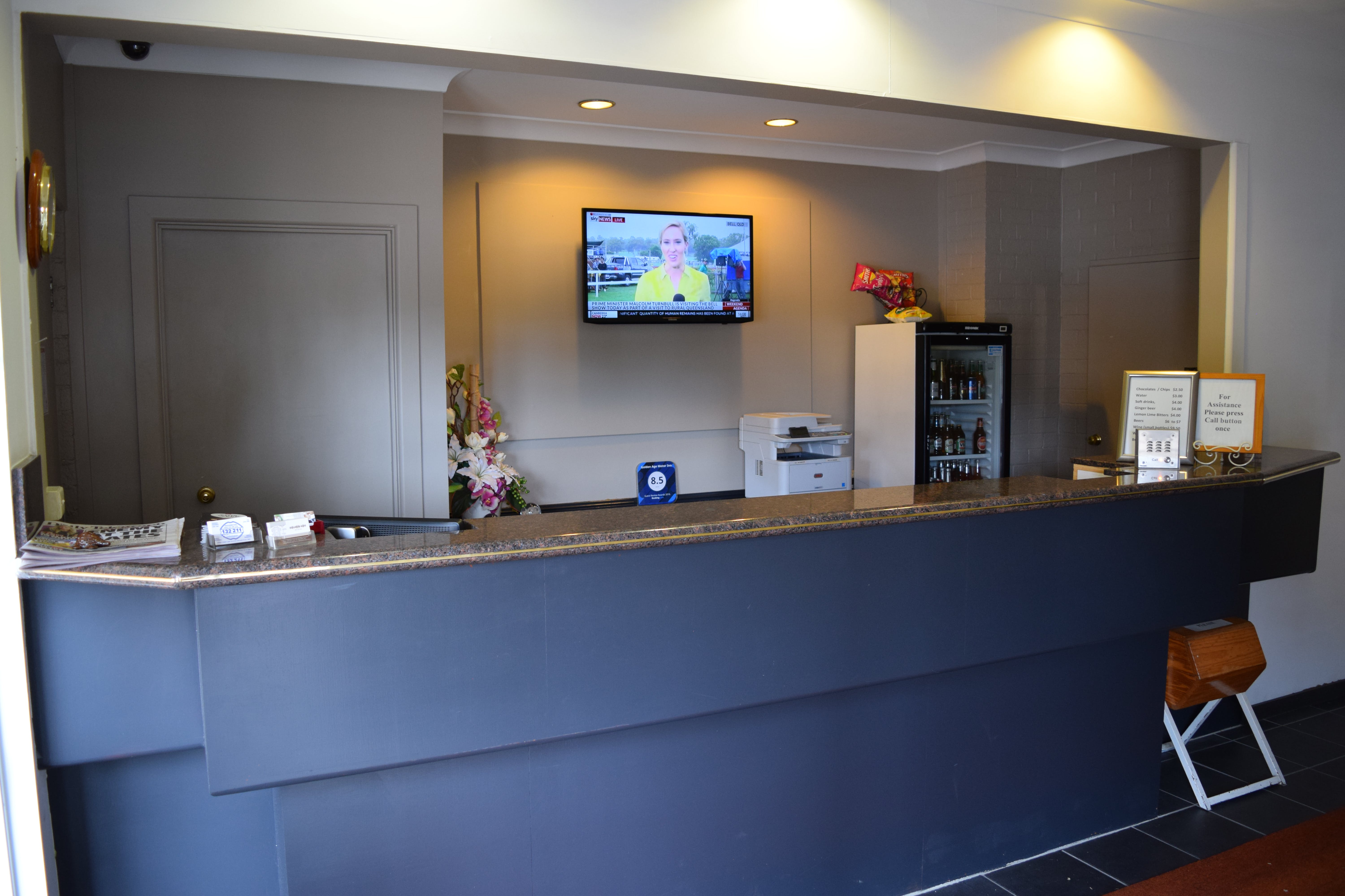 Front office reception. Be greeted by our staff for friendly, fast, efficient check-in. MiniBar & Room Service available.