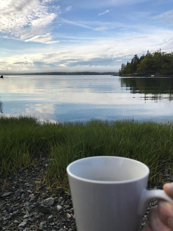 Morning coffee on the waterfront.