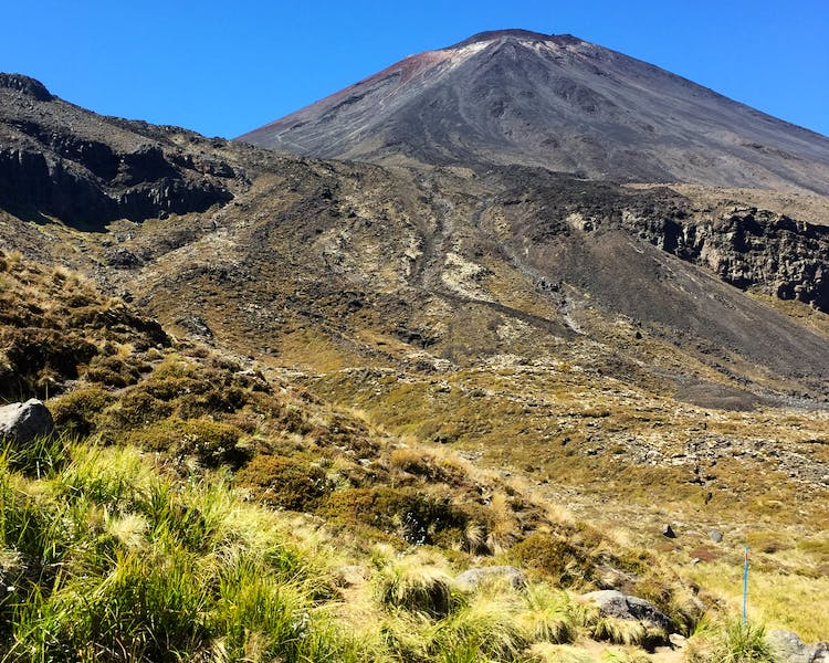 Views of Mt Ngauruhoe on the Tongariro Alpine Crossing.