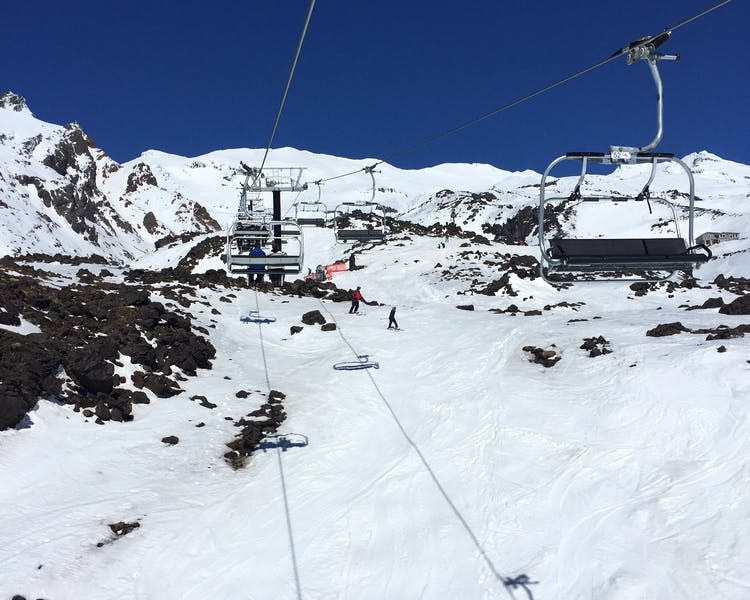 The Whakapapa snowfield on Mt Ruapehu offers tracks from beginners to expert skiers and snowboarders.