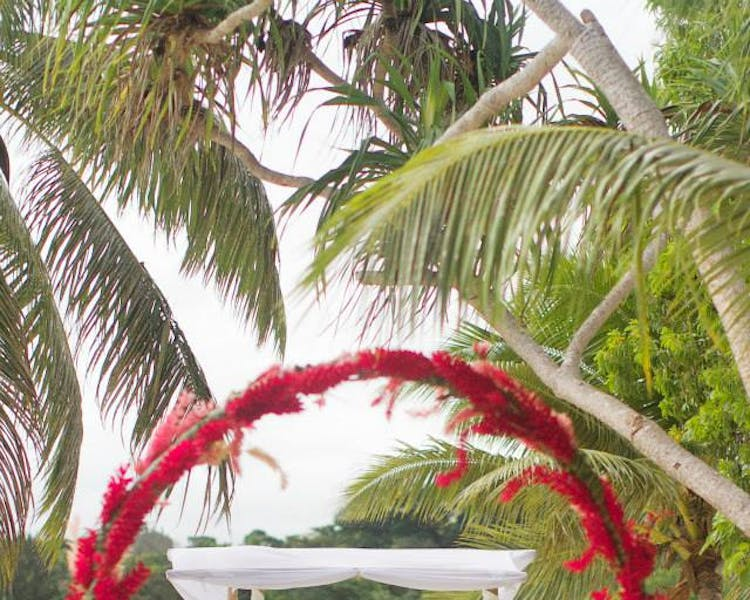 Wedding Ceremony on Coconut Beach Floral Arch with Bamboo Canopy