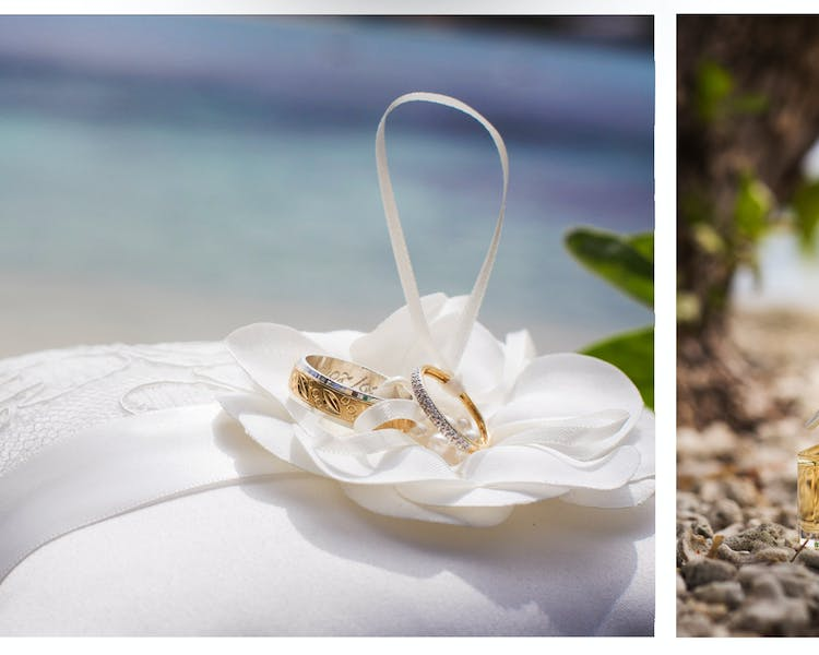 Wedding rings on tropical island