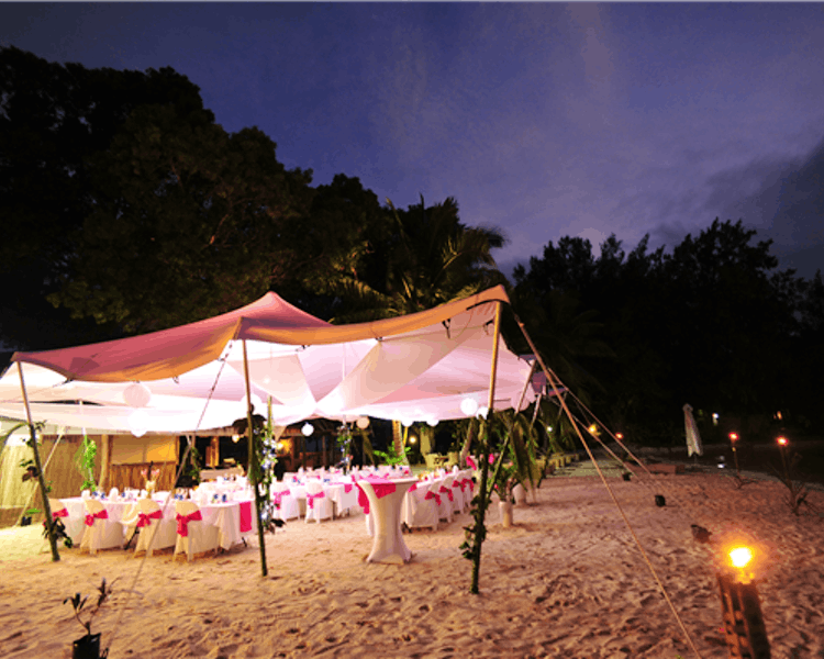 Reception set up on Calypso Beach