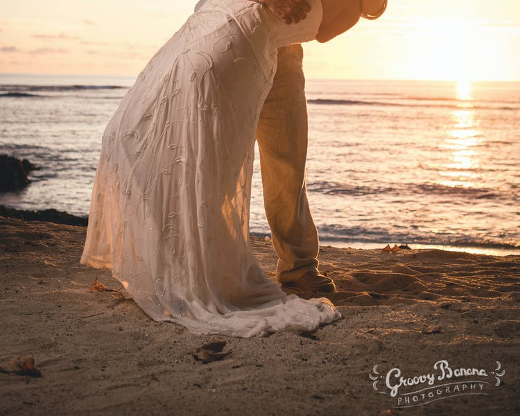 Wedding couple on Sunset Beach