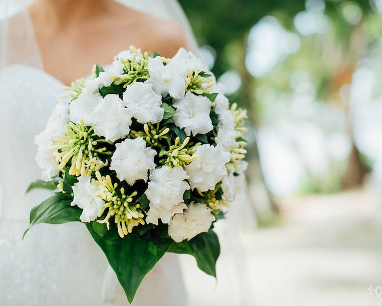 Bridal bouquet of white tropical flowers