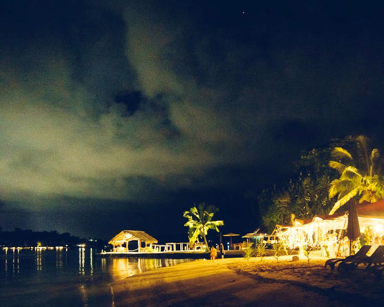 Erakor Island Calypso Beach view by night