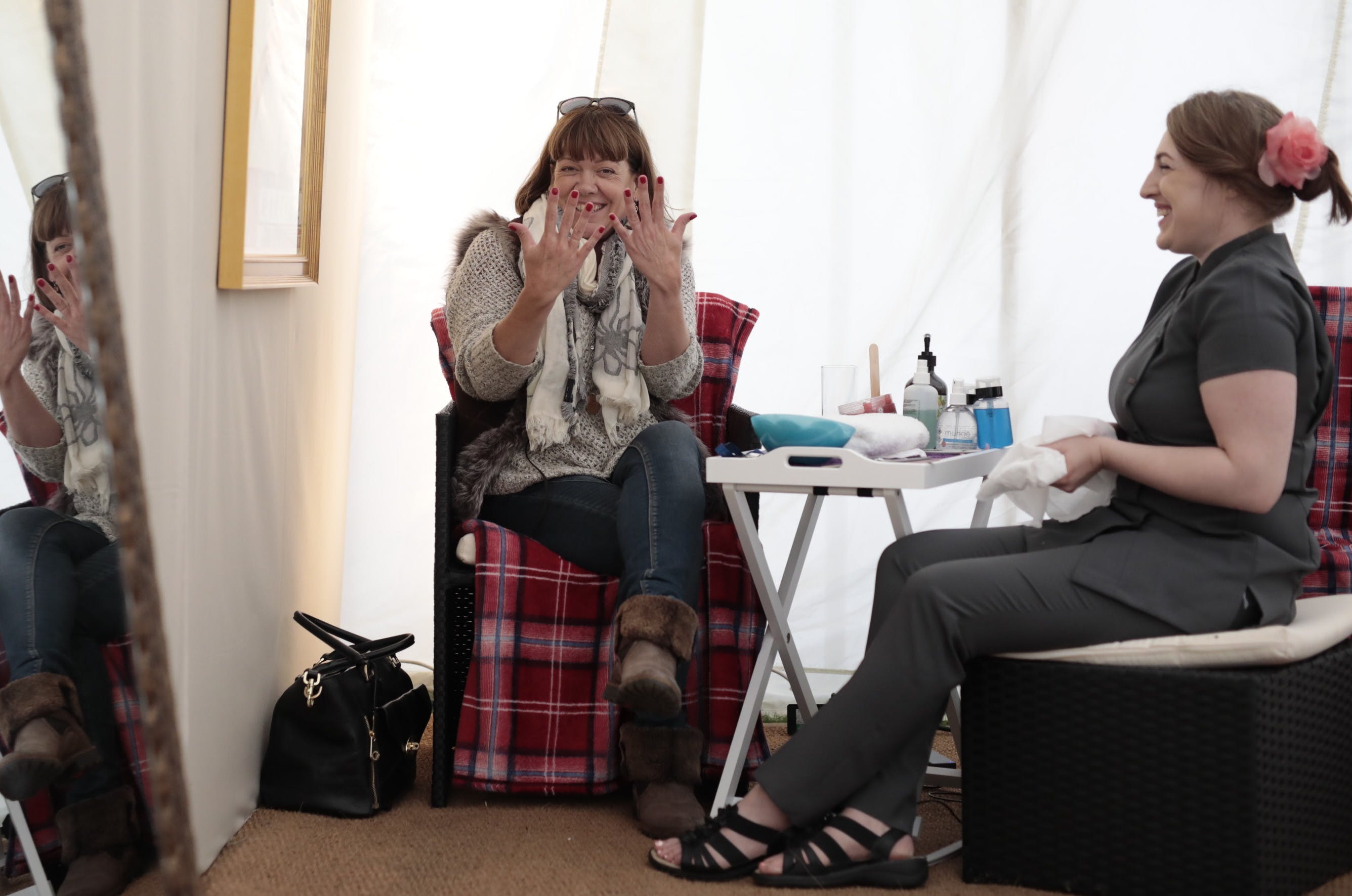 Visit our pamper tent and spa for a range of beauty treatments