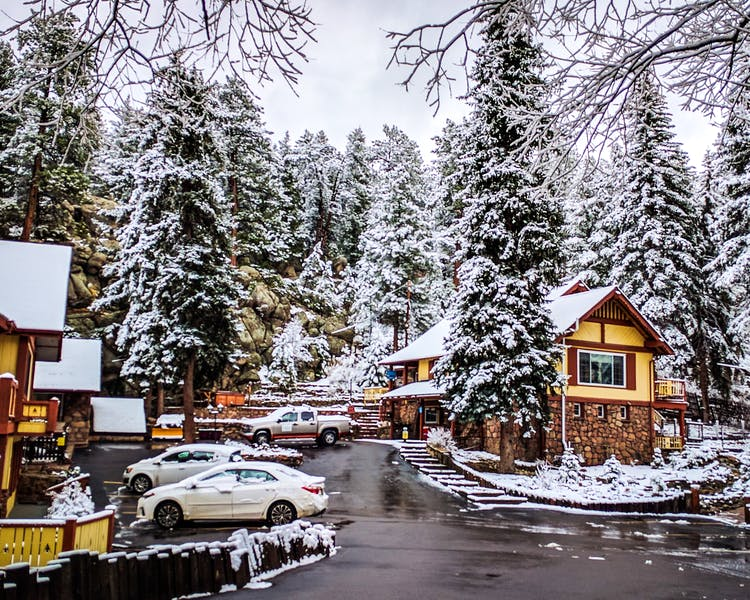 The Lodge after a late winter snow