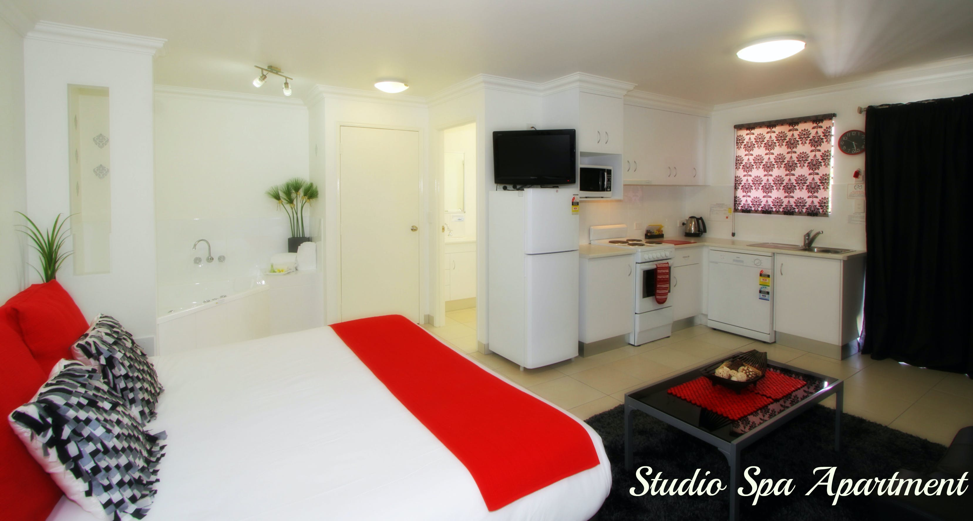 Studio Spa Apartment with one king bed and a corner spa fully self contained with washer and dryer