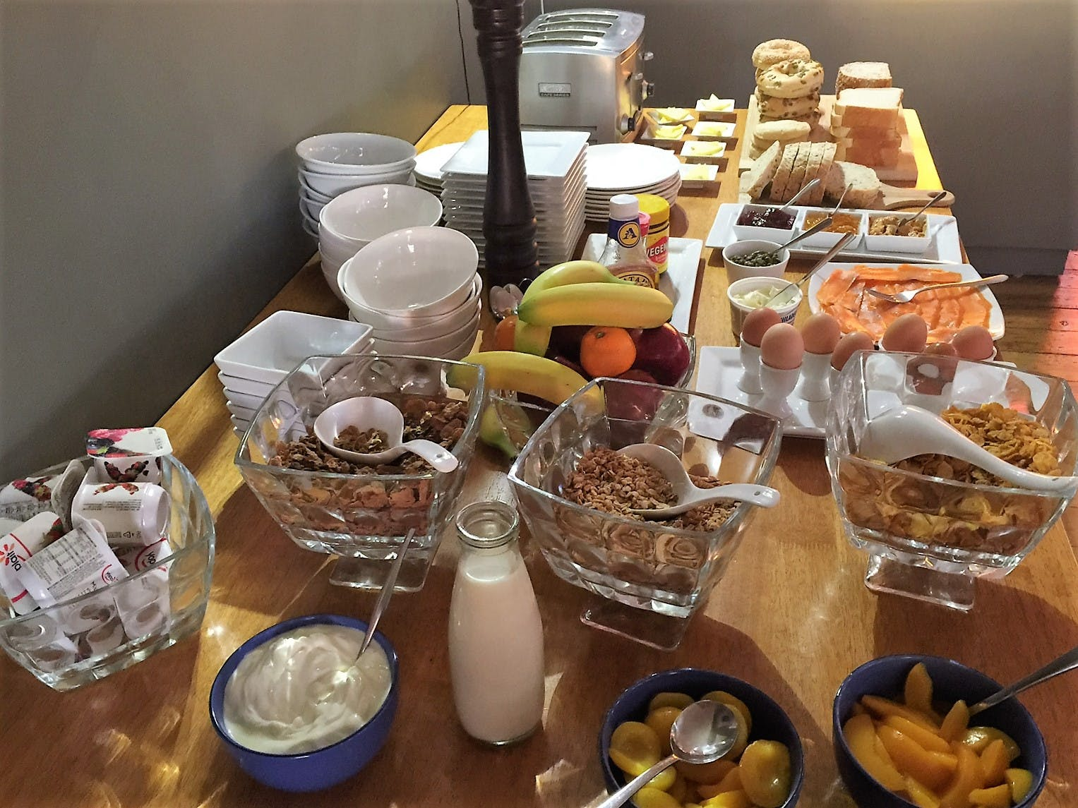 Breakfast spread - marlborough salmon, house-made bread, bagels,