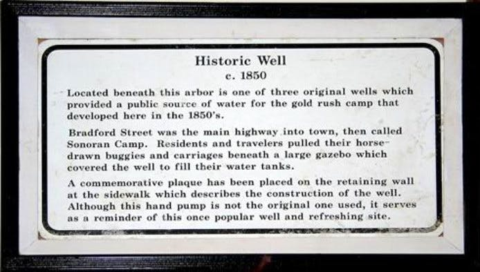 Historical account of original water well
