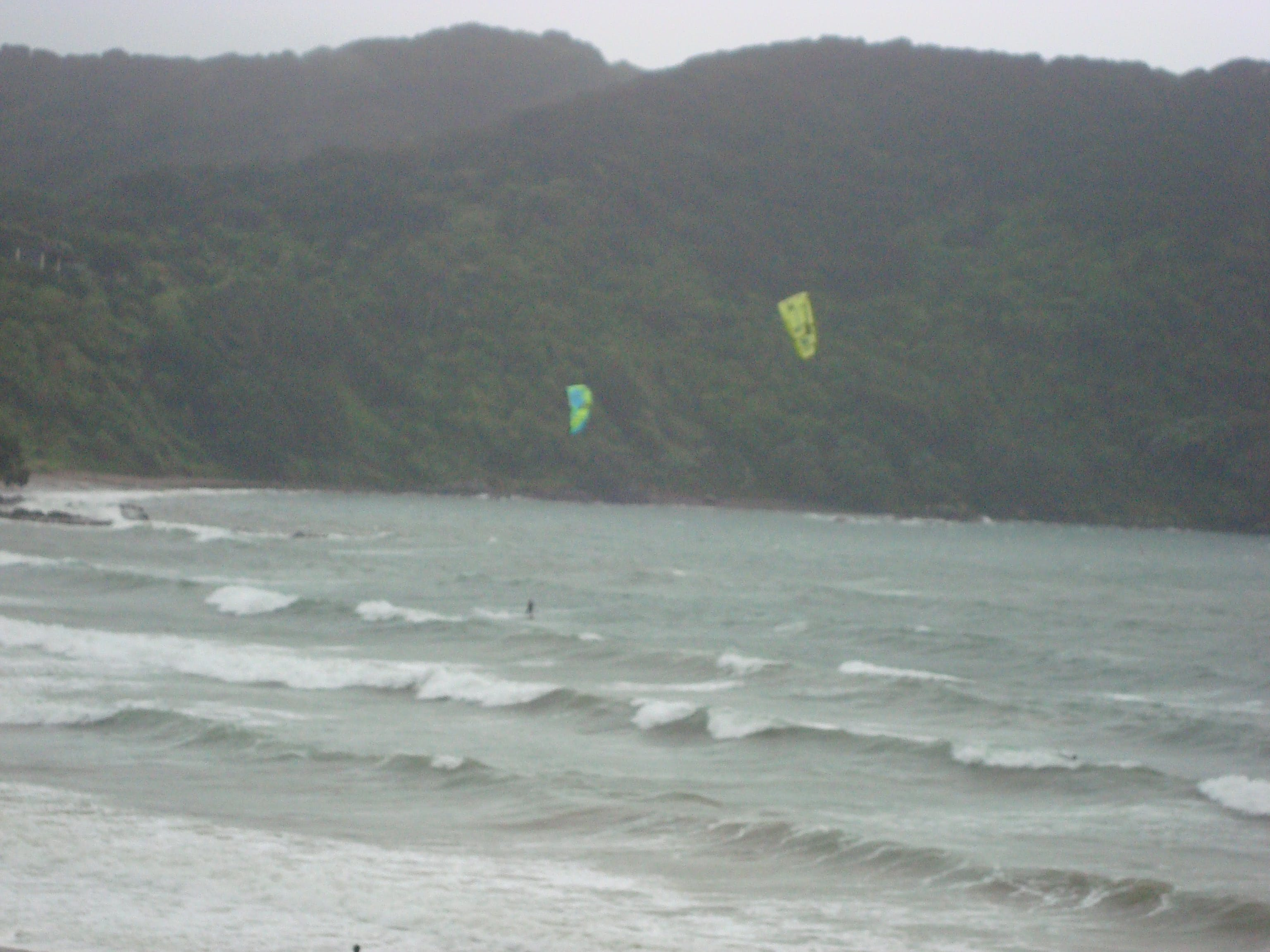 Kite surfers on a stormy day