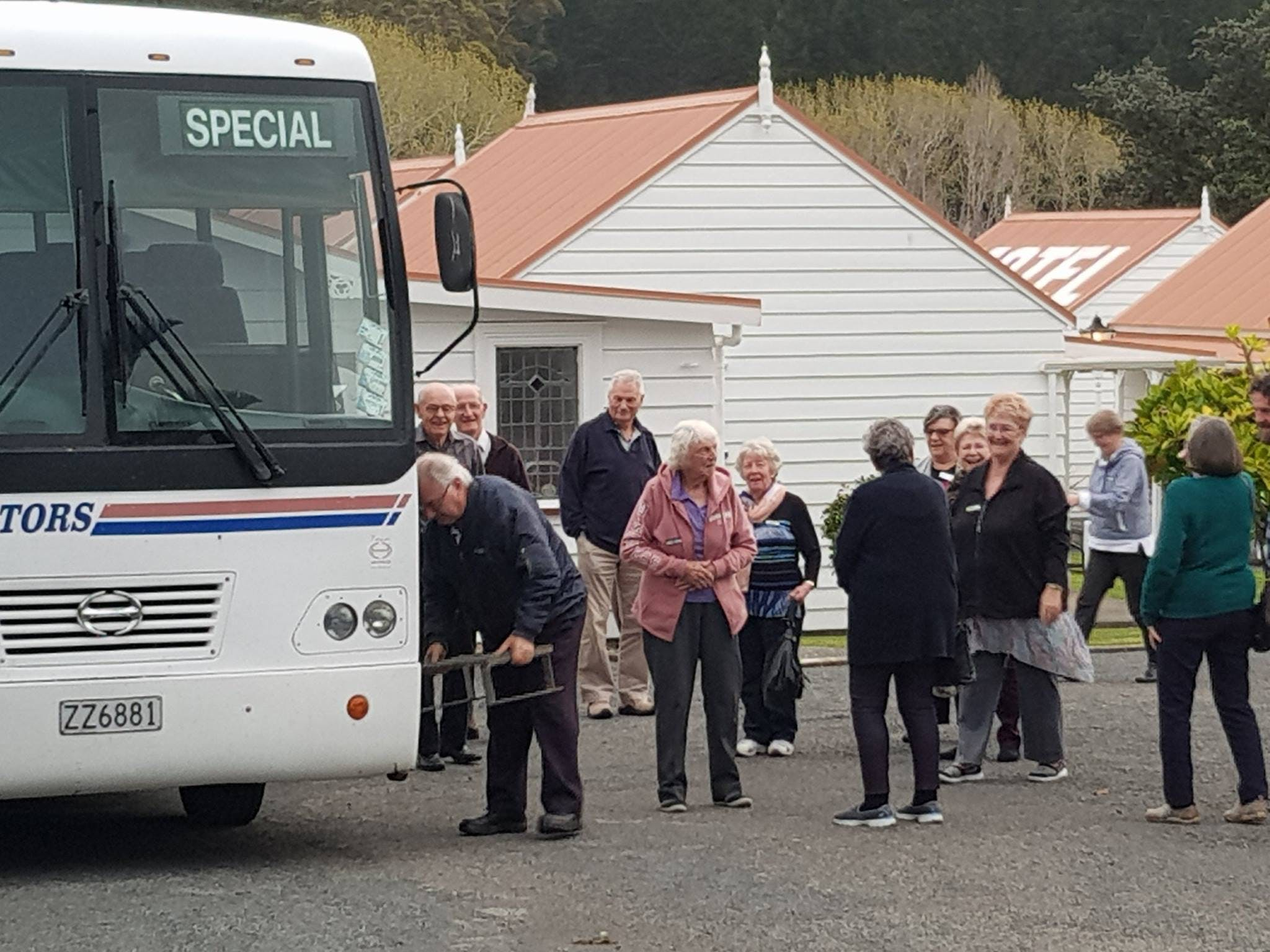 Guests traveling around in a big Bus