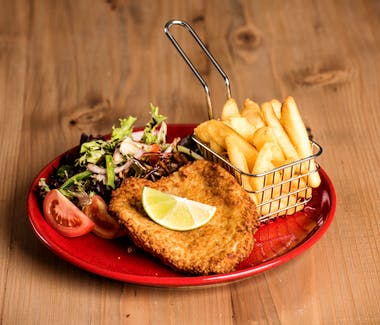 Chicken schnitzel, Leigh Creek Bar & Grill