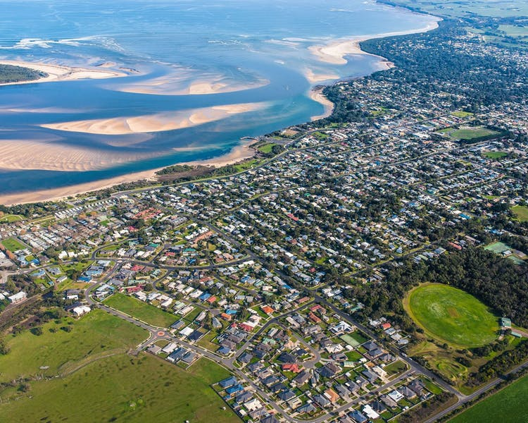 A stunning bird's eye view of the stunning beach town of Inverloch VIC 3996