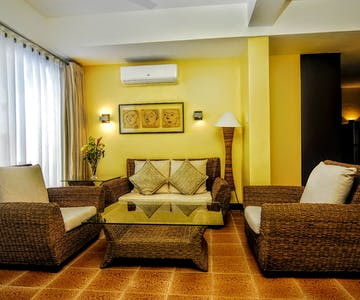 Living room of Maranaw, a 2 bedroom absolute beachfront apartment at Boracay SandCastles The Apartments.