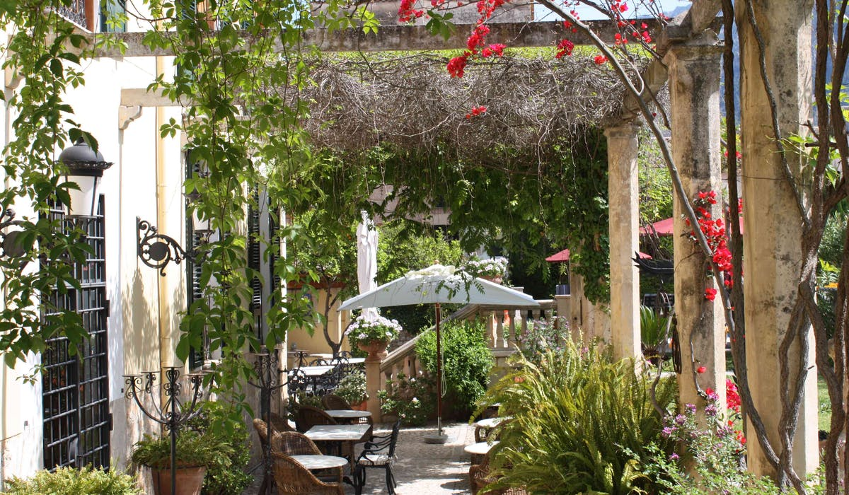 A view across the shaded dining terrace at Salvia