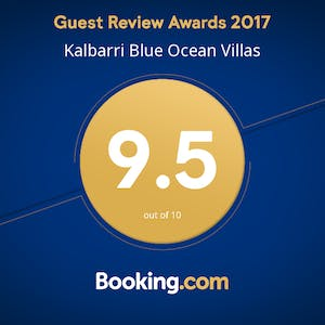 Guest review awards 2017 from booking.com awarded to Blue Ocean Villas Kalbarri, WA