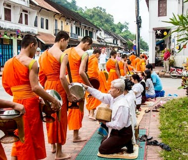 Luang Prabang monks alms giving ceremony