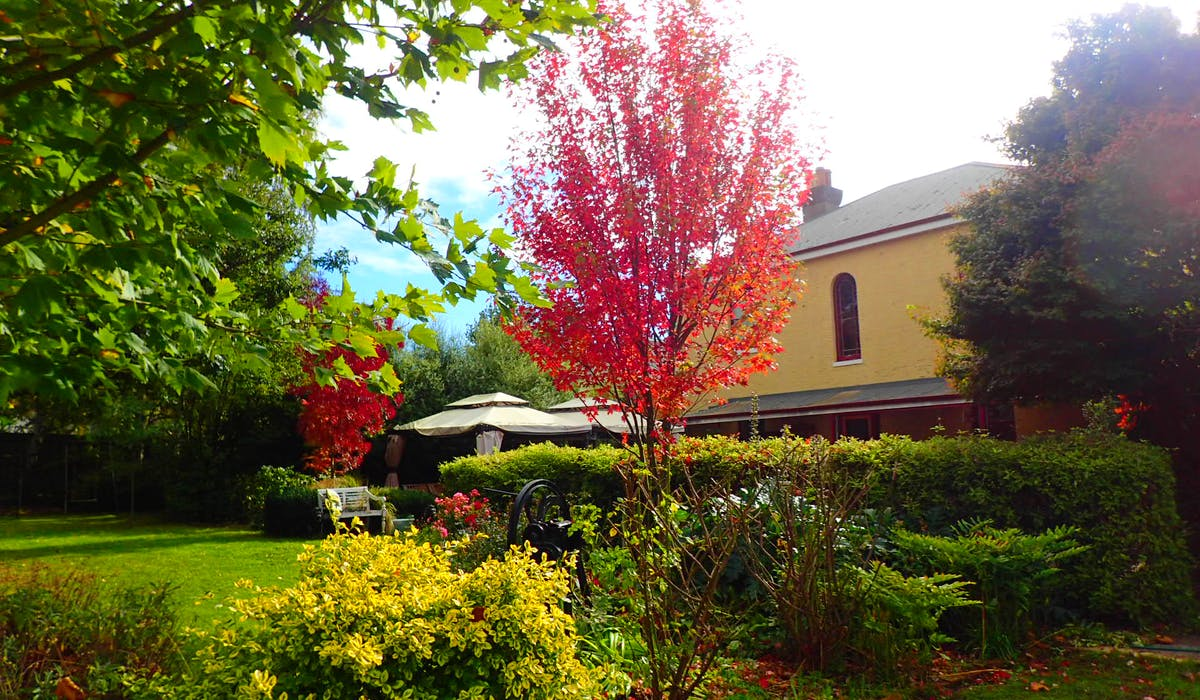 The heritage beauty of colourful gardens at Blakes Manor Deloraine Tasmania.