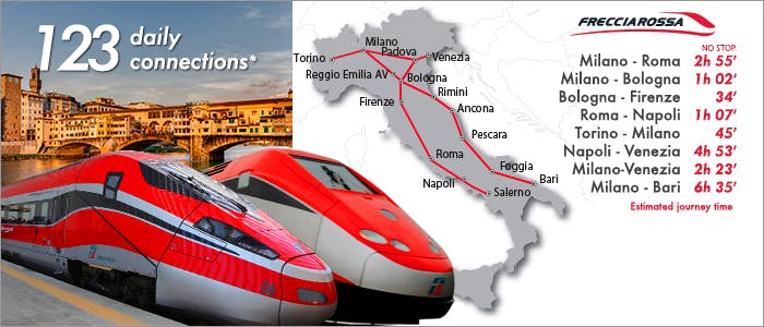 Casa Portagioia,  Train services throughout Italy (and Europe) Trenitalia