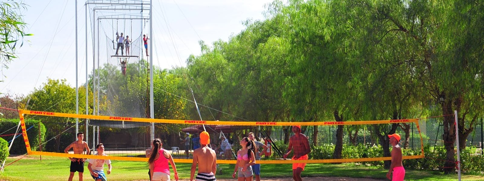 Club Palmeraie Marrakech Marrakesh Eldorador Club Jet Tours sport beach volleyball and flying trapezee trapeze volant
