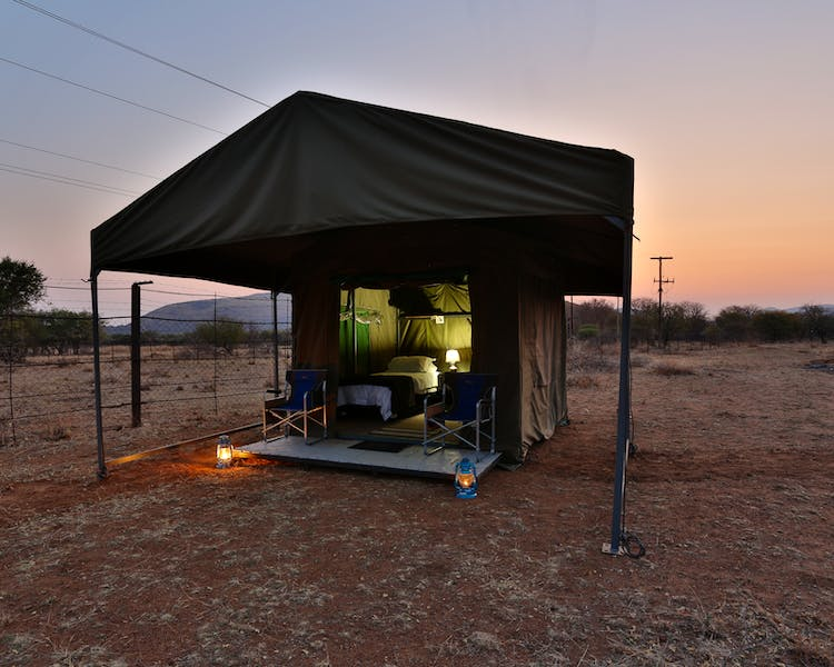 Safari tents with shade canopy