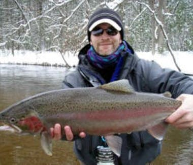 Fishing the Pere Marquette river in winter