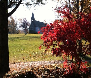 Historic White Pine Village - The Chapel on the hill in fall colors