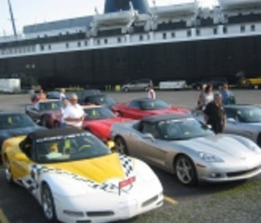 SS Badger Carferry - Ludington Harbor corvette club cars loading