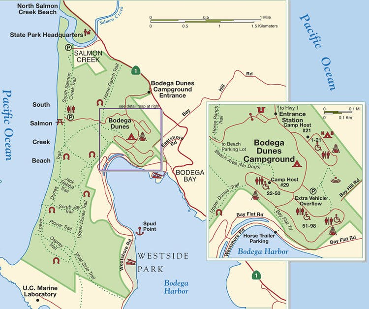 Map, Sonoma coast parks, Bodega Bay Inn, bird watching, whale watching, hiking