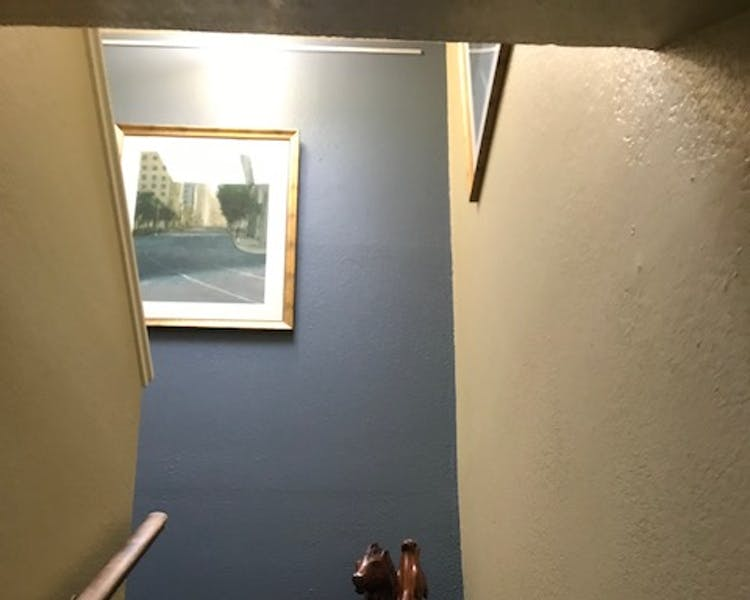 Bodega bay inn, skylight, hanging art work, stairwell