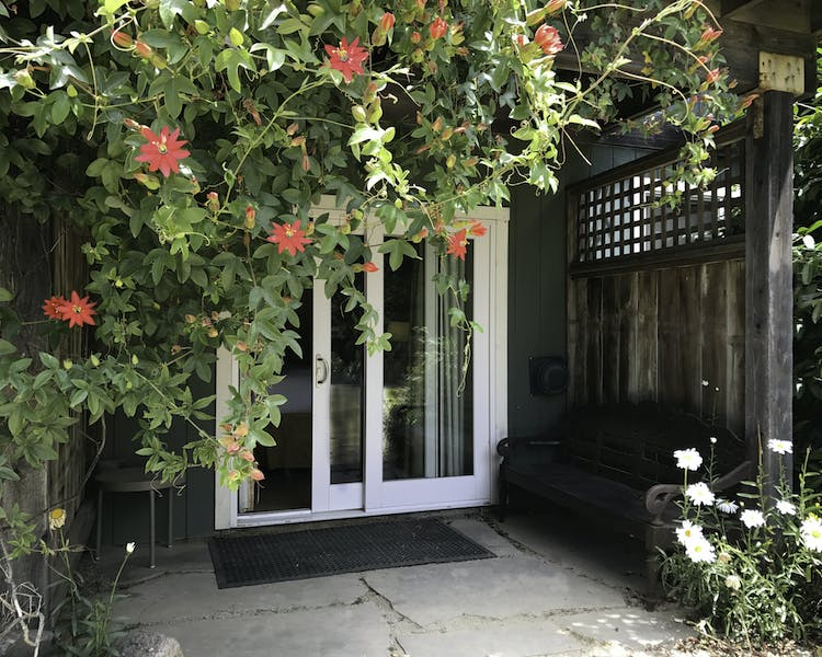 bodega bay inn, passion flower, deck, sliding glass door