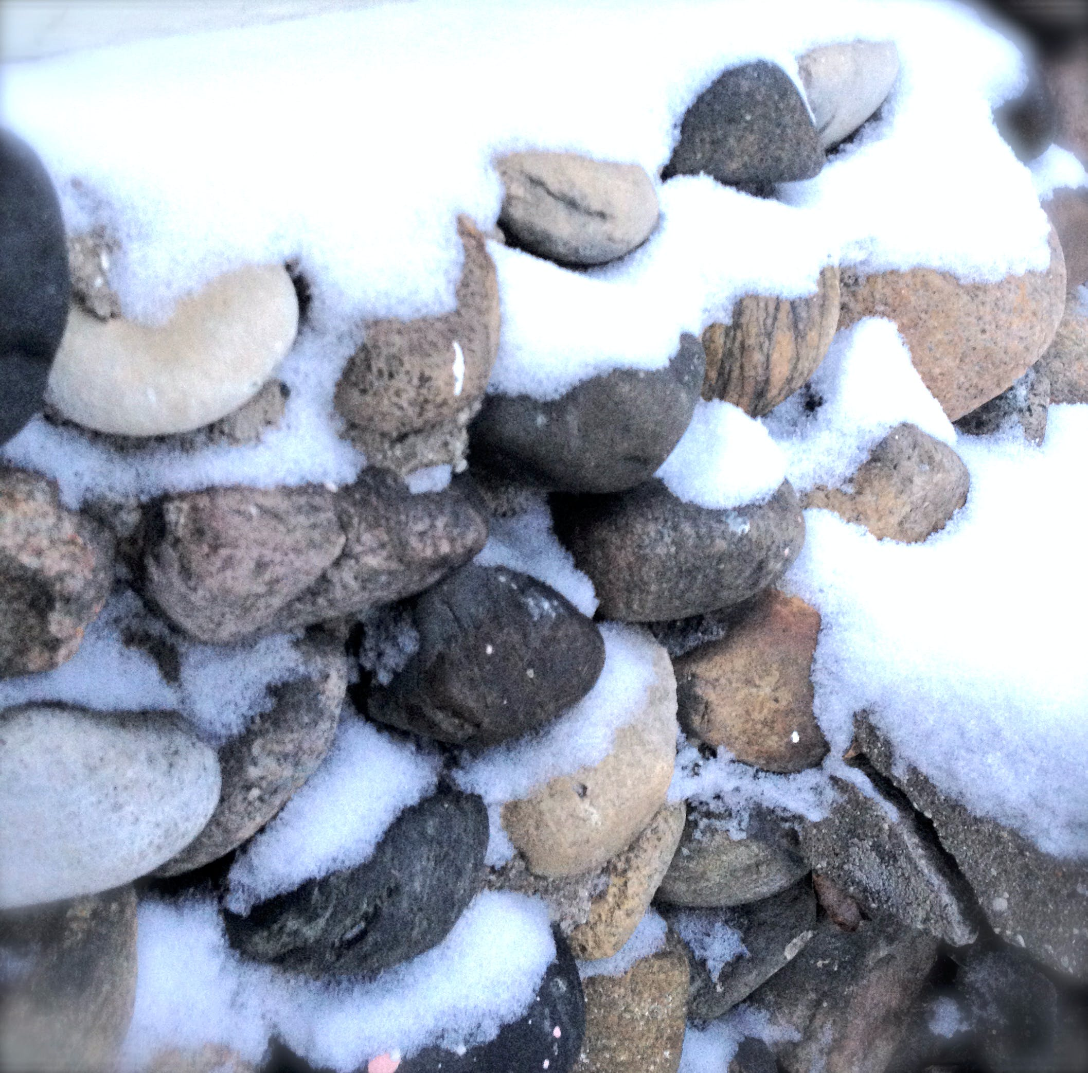 Snowy stones at the B+B