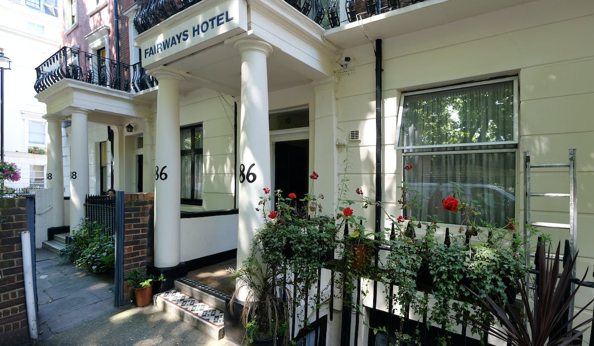 Exterior of Fairways Hotel, Paddington. Cheap rooms, London