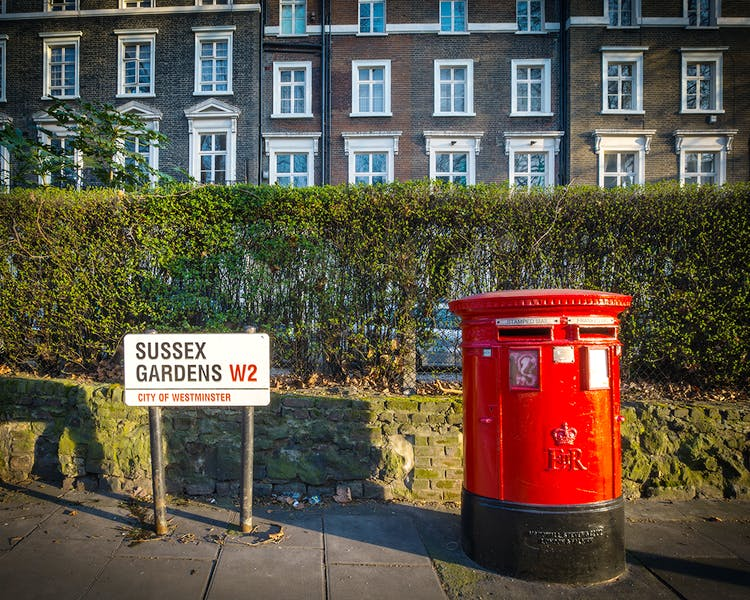 The Fairways Hotel is located on Sussex Gardens. Traditional Post Box