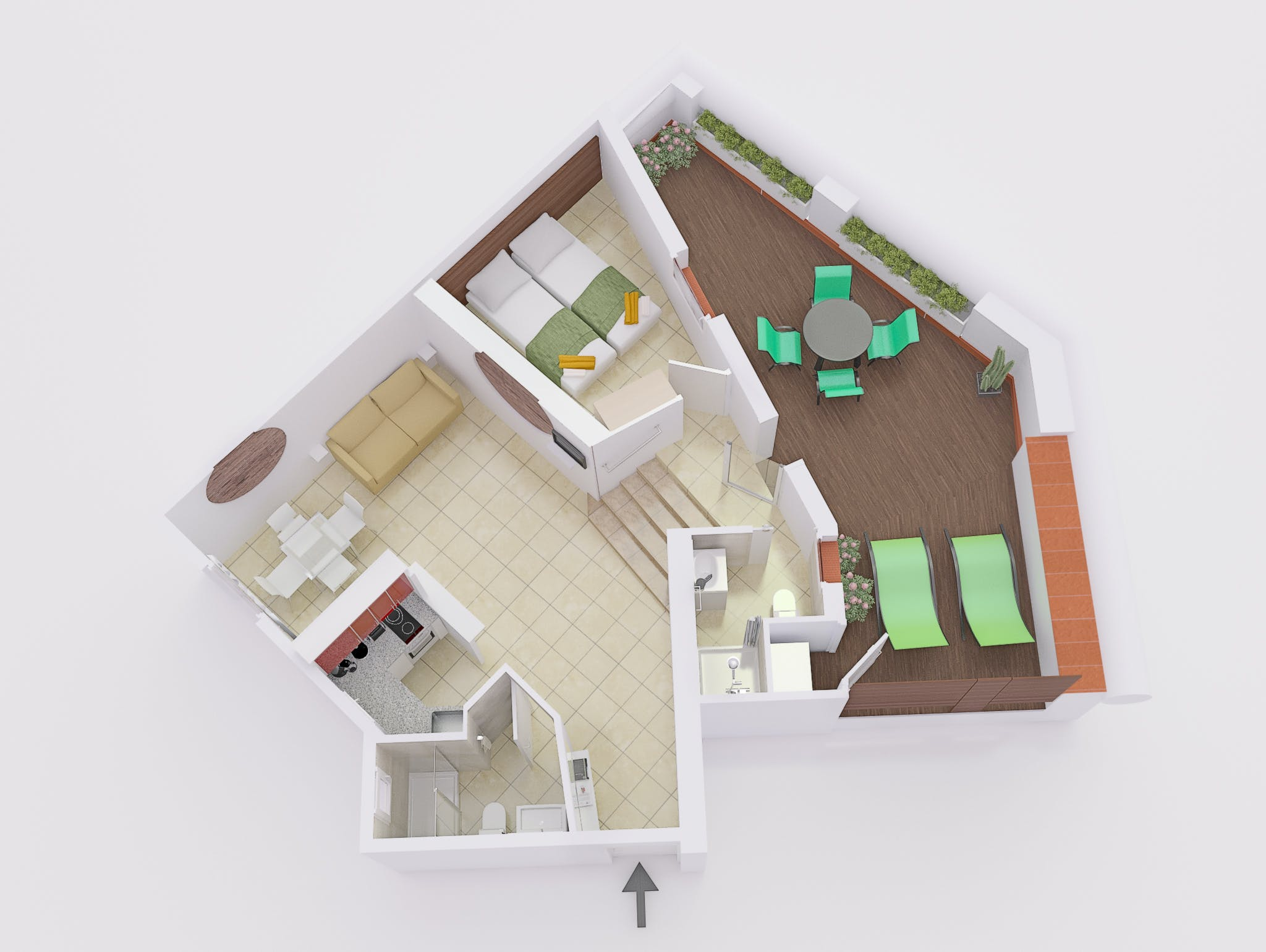 Penthouse with terrace floor plan (facing East)