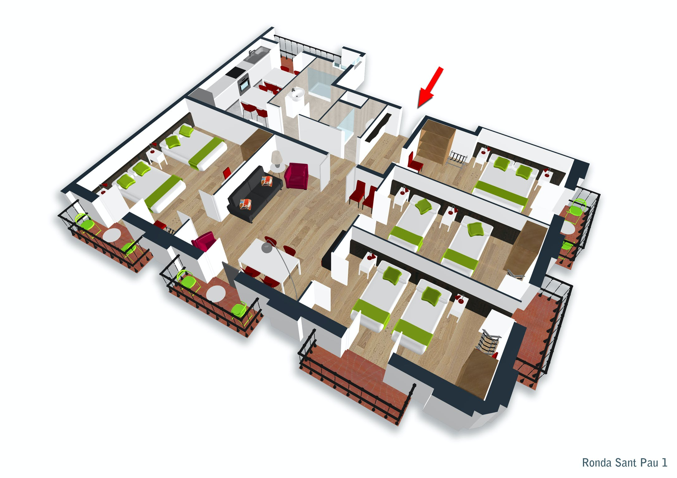 Four-Bedroom apartment with balconies floor plan