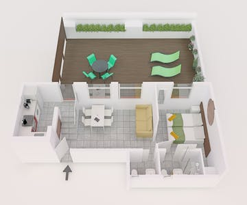 Penthouse with terrace floor plan (facing South)