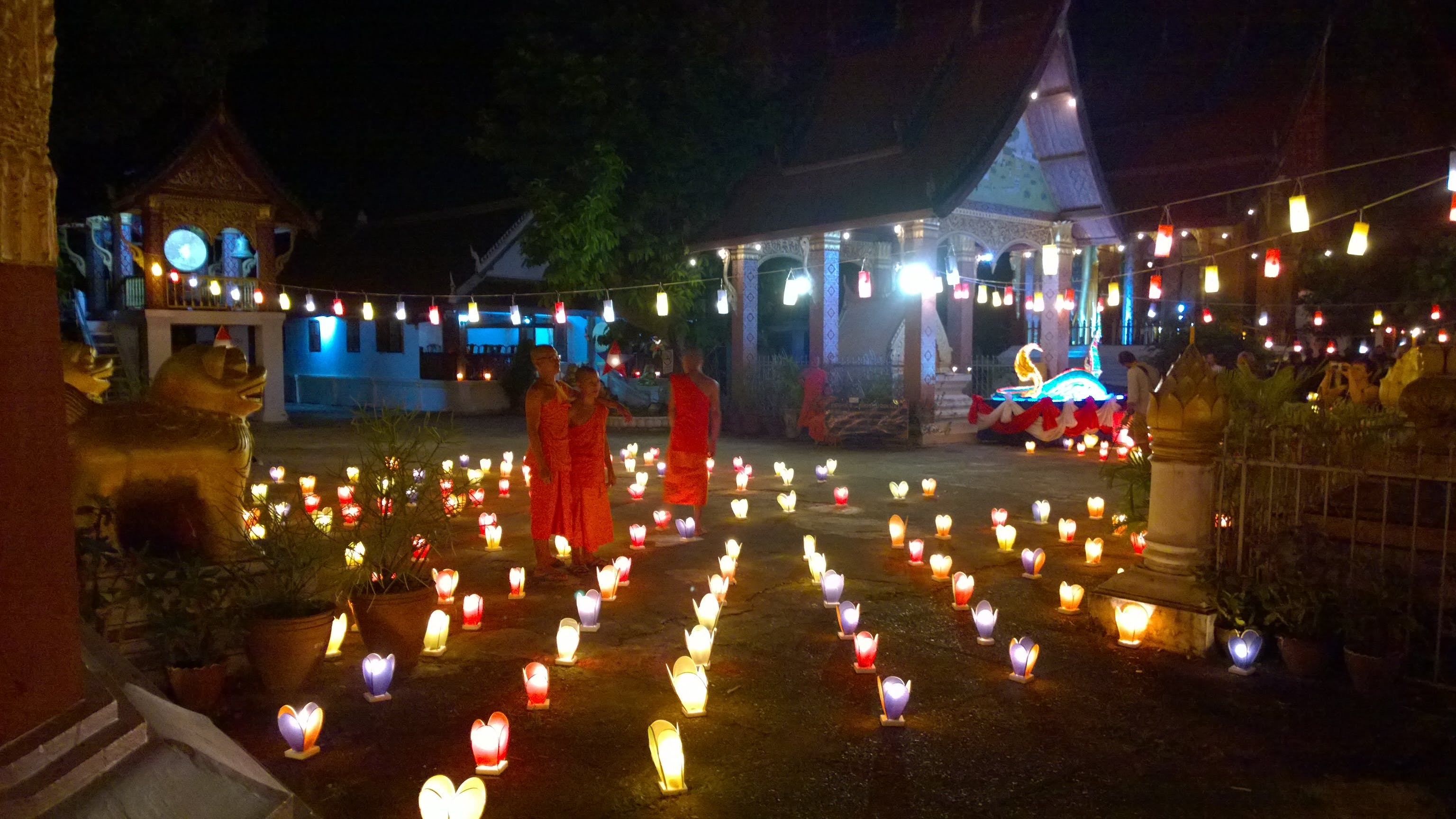 Luang Prabang temples light festival buddhist monks