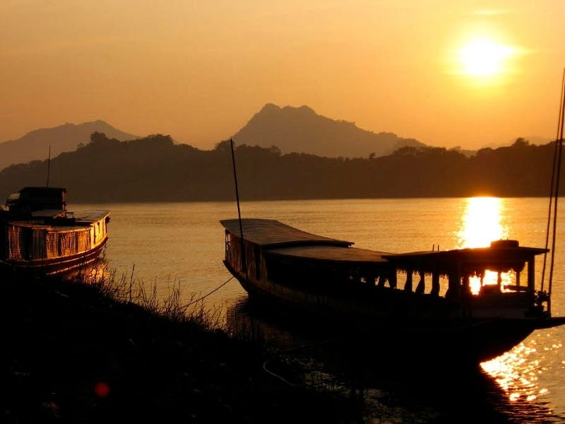 Luang Prabang Mekong River Sunset boats