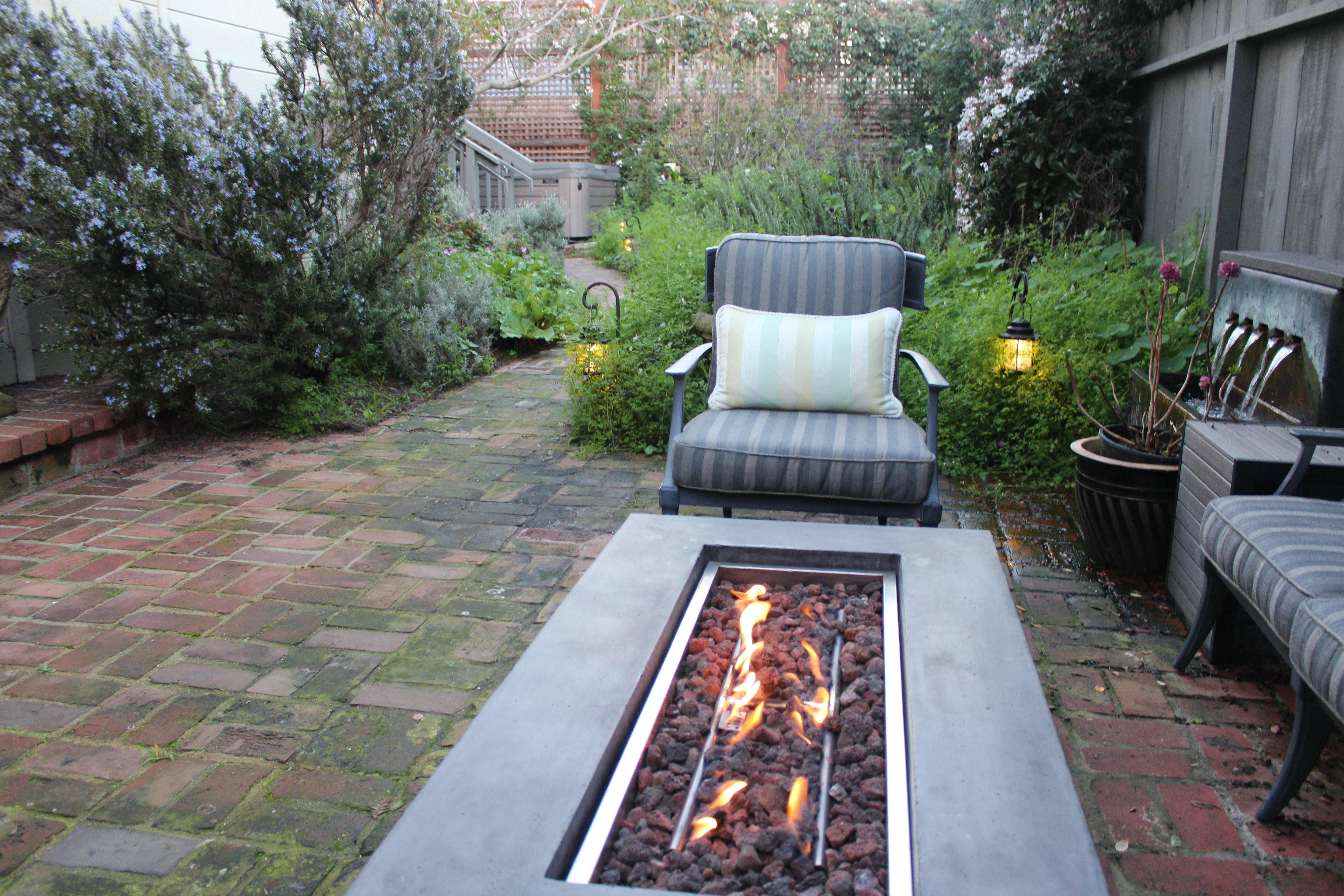 Fire Table in Garden sitting area