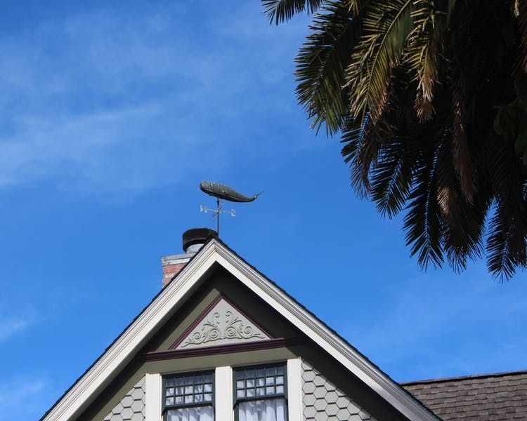 Whale Weather Vane on top of Nantucket Whale Inn