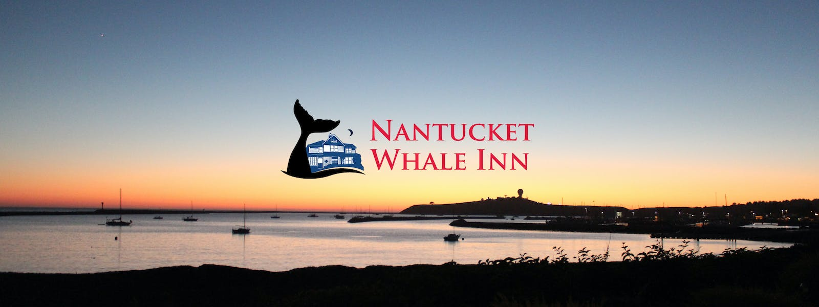 Nantucket Whale Inn logo over Pillar Point Harbor sunset